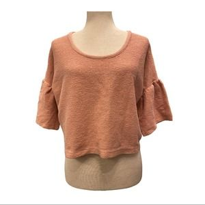 Madewell Crop Top Textured w/ Cute Sleeves Size S